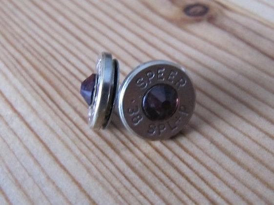 Bullet Earrings- 38 Caliber Purple Swarovski