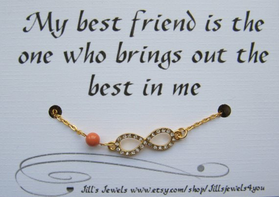 Infinity Friendship Bracelet Gold with Rhinestones