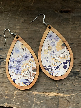 Blue and Yellow Cork Floral Wood Teardrop Earrings