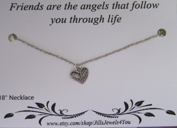 Heart Angel Wing Necklace and Inspirational Quote