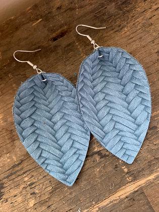 Denim Blue Braided Leather Earrings