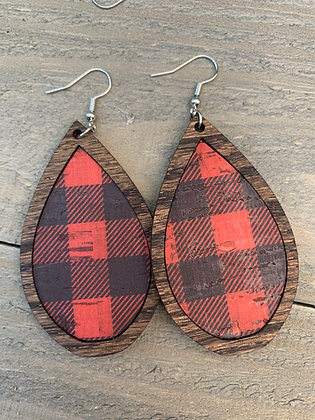 Red Buffalo Plaid Leather and Wood Teardrop Earrings