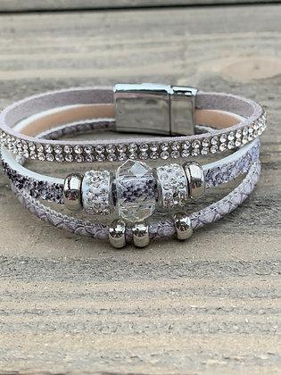 Grey Glitter Beaded Magnetic Bracelet