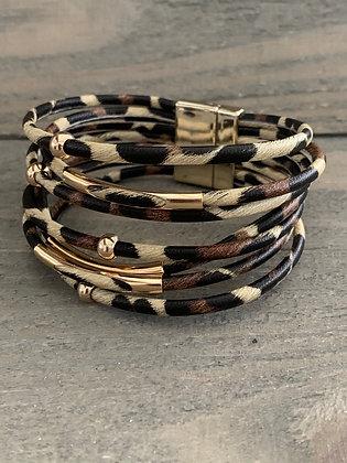Gold Leopard Print Magnetic Bracelet