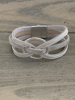 Silver Criss-Cross Magnetic Bracelet