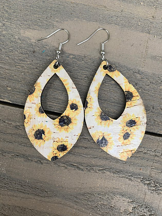 White Sunflower Cork Teardrop Earring