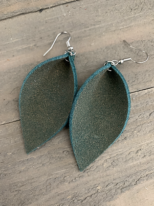 Green Gold Glitter Suede Leather Earrings