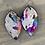 Thumbnail: White Rainbow Acid Wash Hair on leather earring