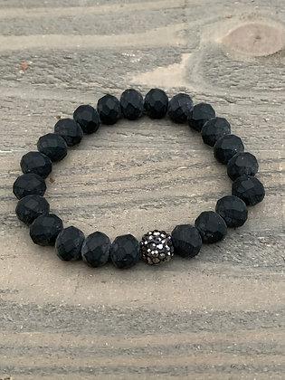 Matte Black Pave Stretch Bracelet