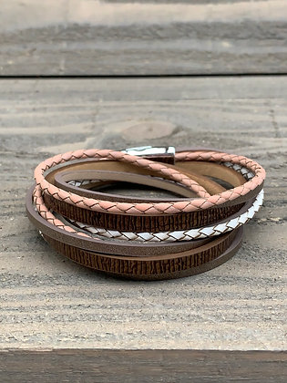 Pink and Brown Double Wrap Magnetic Bracelet