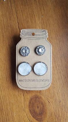 Druzy and Bullet Earrings – 9mm Ice Crystal