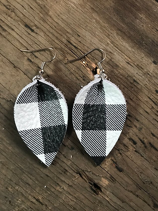 Black and White Buffalo Plaid Earrings