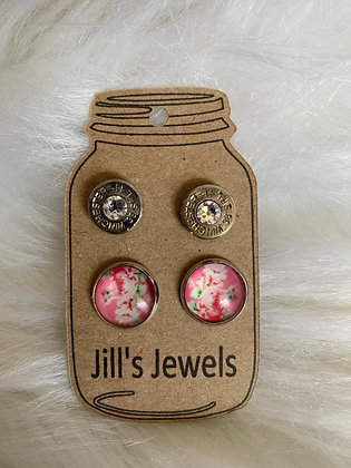 Pink floral and 38 special Earring Set