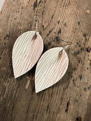 Cream palm leaf textured leather earring