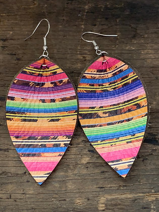 Rainbow Cheetah Serape Leather Earrings