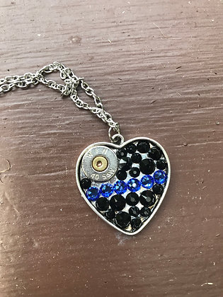 Rhinestone Bullet Heart Necklace- Law Enforcement