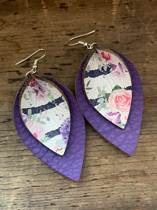 Purple Striped Floral Double Layer Leather Earrings