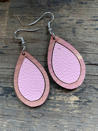 Pink Leather Wood Teardrop Earrings