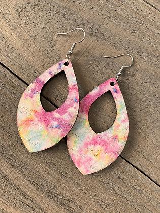 Pink Tie Dye Cork Teardrop Earring