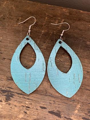 Pearlized Turquoise Cork Teardrop Earring
