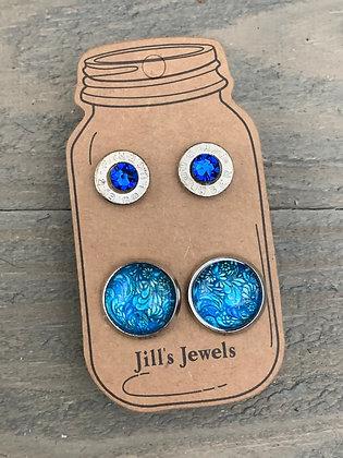 Blue Floral 9mm bullet earring set