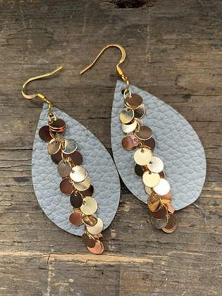 Grey teardrop earrings with gold coin chain