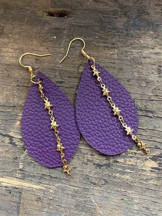 Purple Leather Earrings with Gold Star Chain