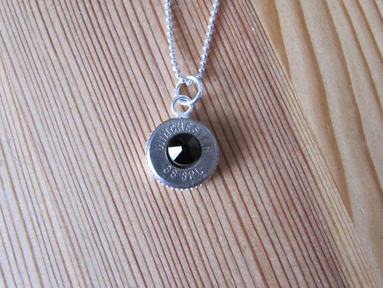 Bullet Necklace with Black Swarovski Crystal