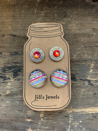 Pink and Blue Tribal 38 Special bullet earring set