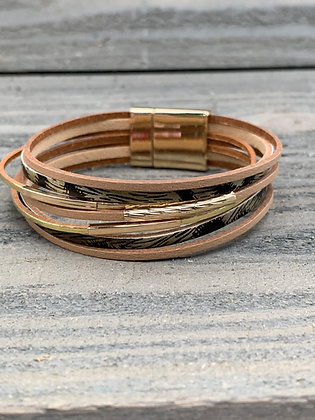 Tan and Gold Leopard Magnetic Bracelet