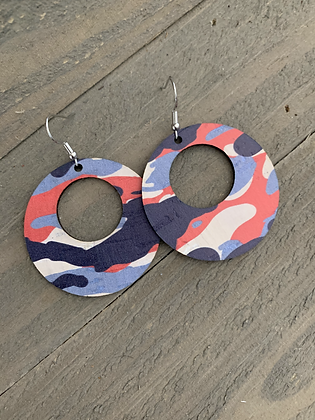 Red White and Blue Camo Cork Hoop Earring