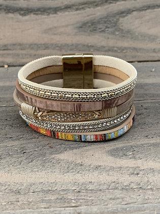 Cream Rainbow Crystal Magnetic Bracelet