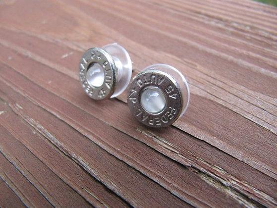 Bullet Earrings-45Auto Clear Moonstone