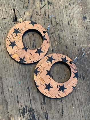 Round Cork Star Earrings