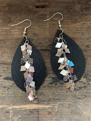 Black Leather Earrings with Silver Diamond Chain