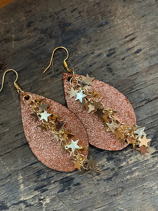 Rust Gold Sparkle Leather Earrings with Gold Star Chain