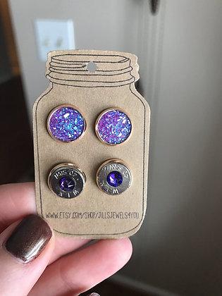 Druzy and Bullet Earrings – 40 Cal Purple