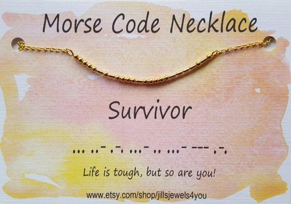 Morse Code Necklace- Survivor