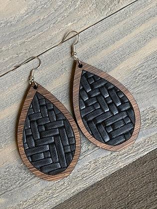 Black Basket Weave Leather and Wood Teardrop Earrings