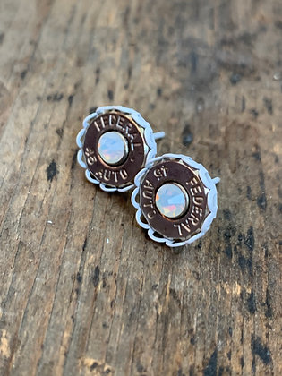 45 Auto Bullet Earrings with White Setting and Opal Crystal