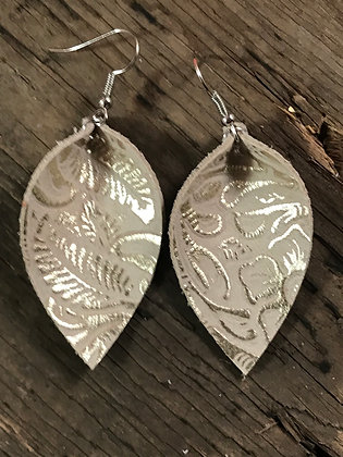Tan leather earrings with gold accents