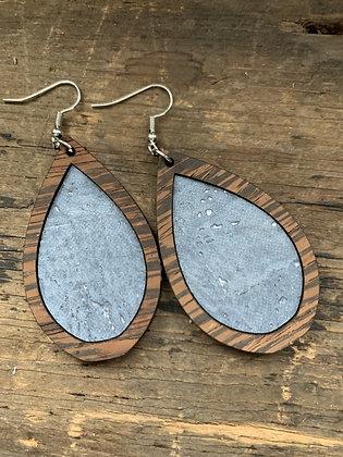 Light Blue Cork  Wood Teardrop Earrings