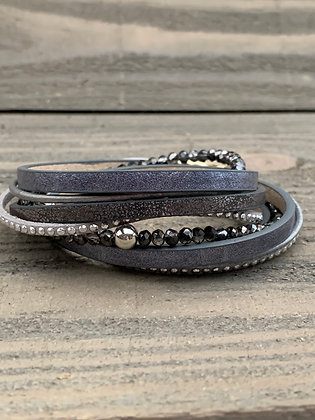 Silver and Gunmetal Double Wrap Magnetic Bracelet