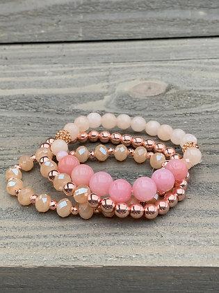 Pink and Rose Gold Gemstone Triple Stacked Stretch Bracelet Set