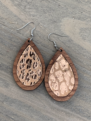 Rose Gold Leopard Cork and Wood Teardrop Earrings