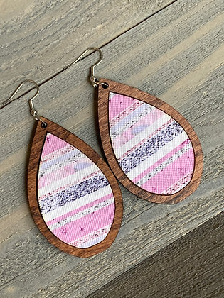 Pink and Blue Striped Wood Teardrop Earrings