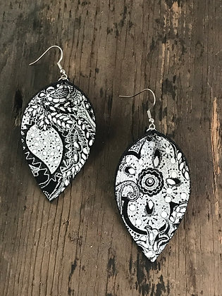 Black and White Paisley Earrings