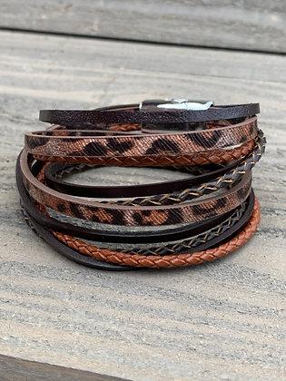 Brown Leopard Double Wrap Magnetic Bracelet