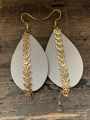 Cream Leather Earrings with Gold Leaf Chain