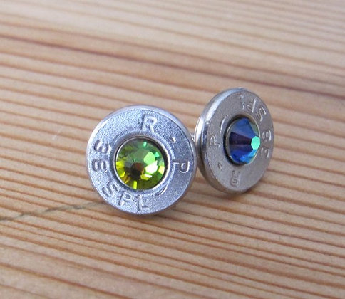 Bullet Earrings- 38 Caliber Green Crystal